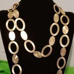 <RL BRAZIL> Brushed Goldtone Oval Design Necklaces